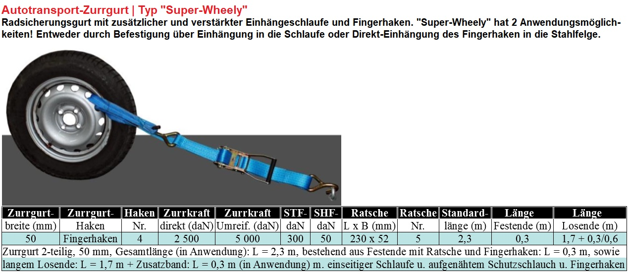 Autotransport-Zurrgurt Typ Super Wheely