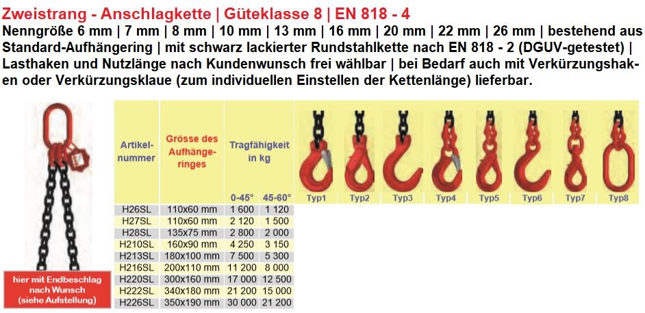 wählbar Gehänge Krankette 4-Strang 10mm Tragkraft:6,7t Weitmaulhaken Länge