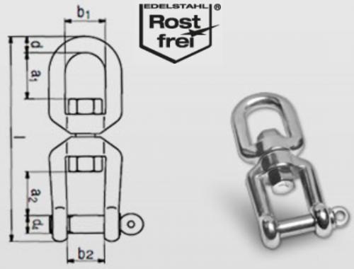 Wirbelschäkel Edelstahl A4 Gabel Gabel 6mm Ankerwirbel Ankerschäkel Schäkel 8256